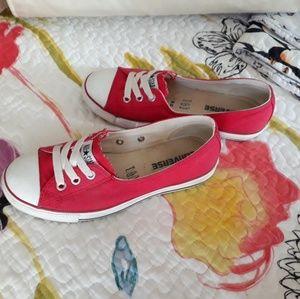 Red Converse Chuck Taylor Ballet Lace Flats EUC